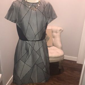 Work appropriate dress with geometric design!